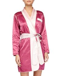 Louis At Home | Purple Riviera Satin Short Robe | Lyst