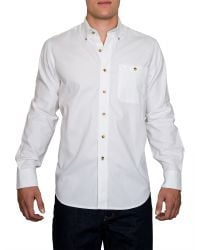 Raging Bull - White Plain Long Sleeve Button Down Shirt for Men - Lyst