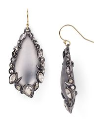 Alexis Bittar Gray Lucite  Crystal Lace Wire Earrings