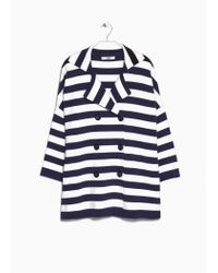 Mango | Blue Striped Knit Coat | Lyst