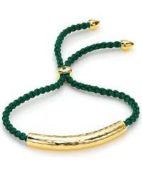 Monica Vinader | Green Esencia 18Ct Gold-Plated Friendship Bracelet - For Women | Lyst