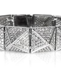 Noir Jewelry | Metallic Pave Pyramid Stud Bracelet | Lyst