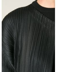 Pleats Please Issey Miyake - Black Brand Signature Pleats Long Cardigan - Lyst