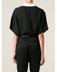 KENZO - Black 'Squares' Embroidered Top - Lyst