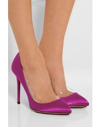 Charlotte Olympia Purple Party Monroe Pvc-trimmed Suede Pumps