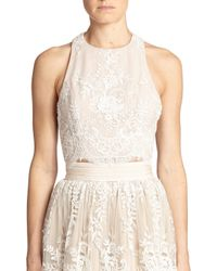 Alice + Olivia - Natural Blythe Lace-Overlay Cropped Top - Lyst