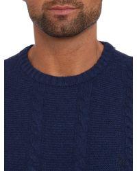 Original Penguin Blue Crew Neck Lambswool Cable Knit Jumper for men
