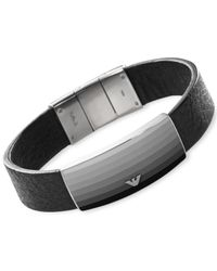 Emporio Armani - Metallic Men's Stainless Steel Plaque Black Leather Bracelet Egs1977 for Men - Lyst