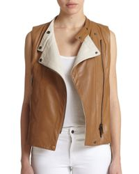 Callens - Brown Leather Biker Vest - Lyst
