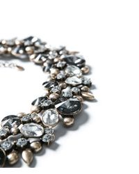 Zara | Gray Necklace with Flowers and Strass | Lyst