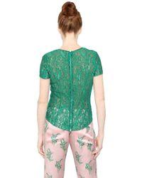 Nina Ricci - Green Short Sleeve Lace Top - Lyst