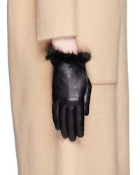 Georges Morand Black Mink Fur Trim Lamb Leather Gloves