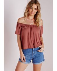 101080557841ba Lyst - Missguided Jersey Bardot Crop Top Terracotta in Red