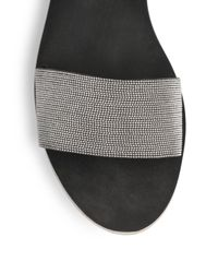 Brunello Cucinelli - Gray Beaded Leather Anklestrap Sandals - Lyst