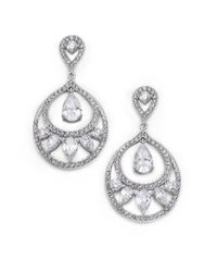 Adriana Orsini   Metallic Decadence Crystal Drop Hoop Earrings   Lyst