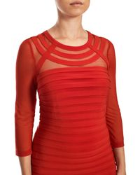 Adrianna Papell | Red Long Sleeve Bandeau Dress | Lyst