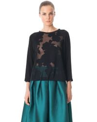 Tibi Black Double Layer Floral Burnout Sweatshirt