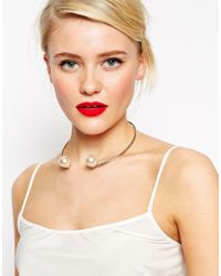 ASOS | Metallic Limited Edition Open Faux Pearl Choker Necklace | Lyst