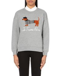 Chocoolate | Gray Dog-appliqué Cotton-jersey Sweatshirt | Lyst