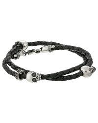 King Baby Studio | Thin Braided Black Leather W/ Hamlet Skulls Double Wrap Bracelet for Men | Lyst
