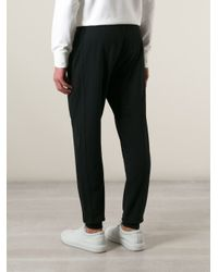 Emporio Armani Black Gathered Ankle Track Pants for men