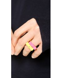 Marc By Marc Jacobs Pink Bow Tie Ring Safety Yellow