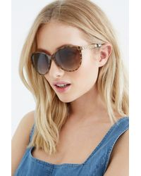 Oasis Brown Tortoiseshell Chain Detail Sunglasses