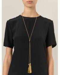 Saint Laurent - Metallic Tassel Detail Necklace - Lyst