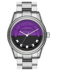 Karl Lagerfeld - Metallic Studded Bezel Bracelet Watch - Lyst