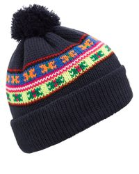 Penfield Blue Navy Himal Neon Pattern Beanie Hat for men