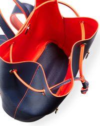 Neiman Marcus Orange Neon Contrast Drawstring Backpack