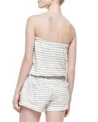 Soft Joie - Gray Gidget Striped Strapless Romper - Lyst