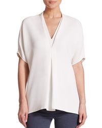 Vince | White Draped Crepe Top | Lyst