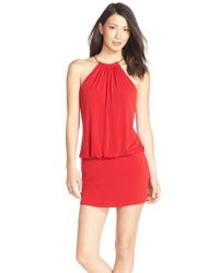 Laundry by Shelli Segal | Red Chain Accent Jersey Blouson Dress | Lyst