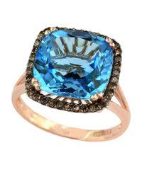 Effy - Bleu Rose 14Kt. Rose Gold Blue Topaz And Brown Diamond Ring - Lyst