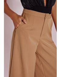 Missguided | Natural Woven Culottes Camel | Lyst