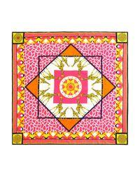 Jonathan Adler Pink Animalia Square Silk Scarf