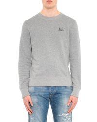 C P Company Gray Goggle-Print Cotton Sweatshirt for men