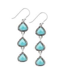 Lucky Brand | Metallic Silvertone Reconstituted Turquoise Linear Pave Drop Earrings | Lyst