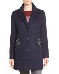 Guess | Blue Zip Detail Reefer Coat | Lyst