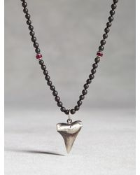 John Varvatos | Metallic Sterling Silver Shark Tooth Beaded Necklace for Men | Lyst