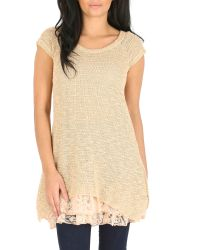 Izabel London | Natural Knit Tunic Top With Frilled Under Layer | Lyst