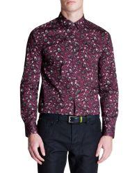 Ted Baker   Purple Noface Floral Print Sport Shirt - Regular Fit for Men   Lyst