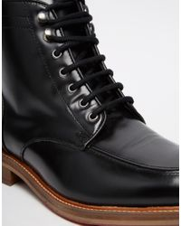 ASOS - Lace Up Boots In Black Leather With Apron Toe for Men - Lyst