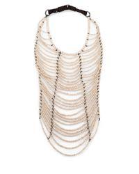 Brunello Cucinelli | White River Stone, Silver & Leather Breastplate Necklace | Lyst