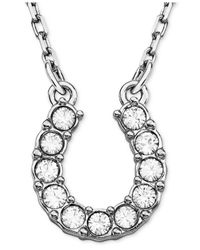 Swarovski | Metallic Necklace, Rhodium-plated Crystal Horseshoe Pendant Necklace | Lyst