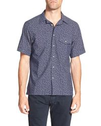 Haspel | Blue 'martin' Trim Fit Floral Print Sport Shirt for Men | Lyst