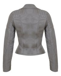 Miss Selfridge Gray Molly Faux Leather Biker Jacket