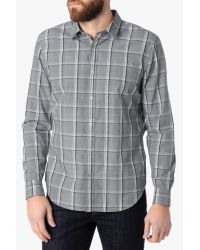 7 For All Mankind | Gray Large Plaid Shirt In Grey Plaid for Men | Lyst