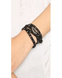 Chan Luu Druzy Beaded Wrap Bracelet - Onyx Mix/natural Black
